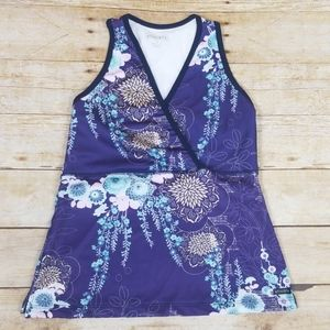 Athleta Floral Patterned Tank With Built In Bra